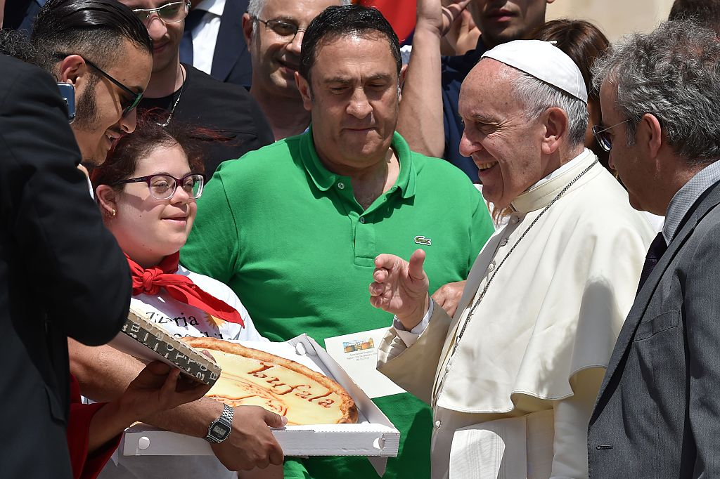 Pope Francis with pizza