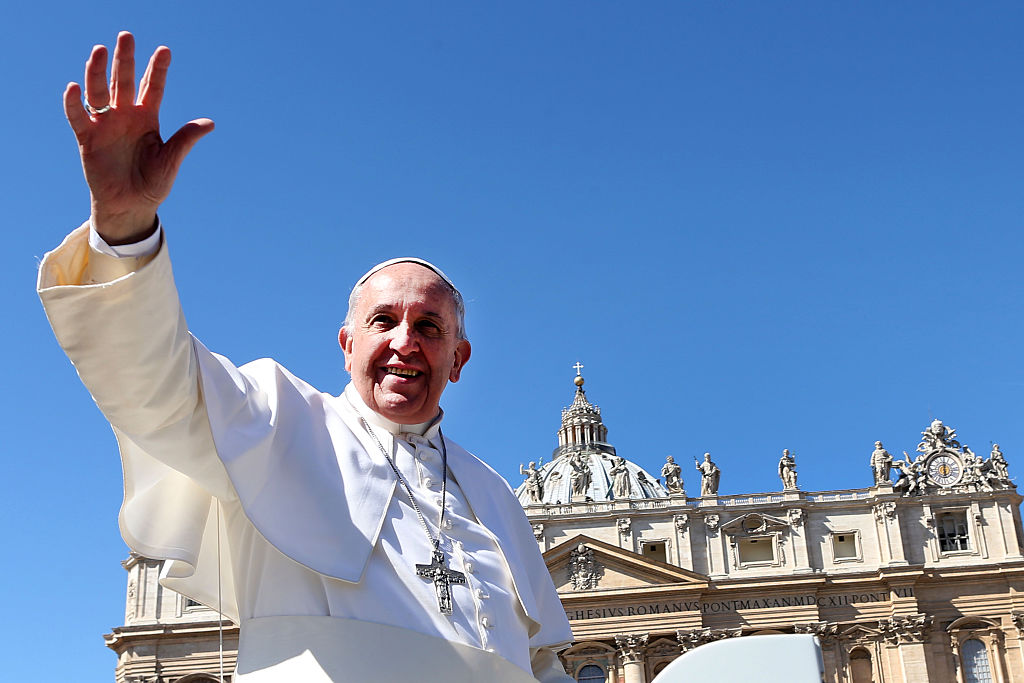 Pope Francis waving