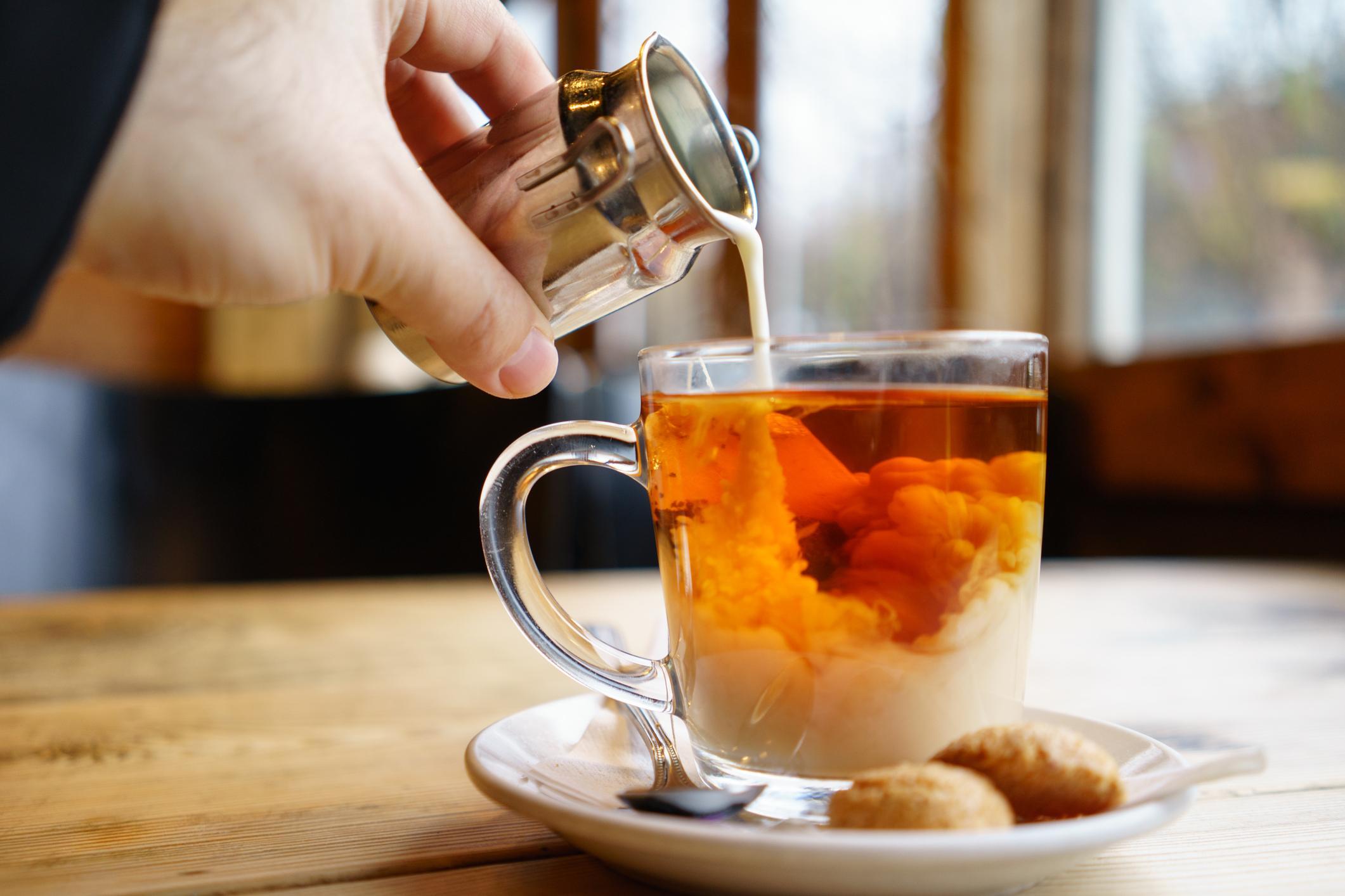 Adding milk top on English Tea
