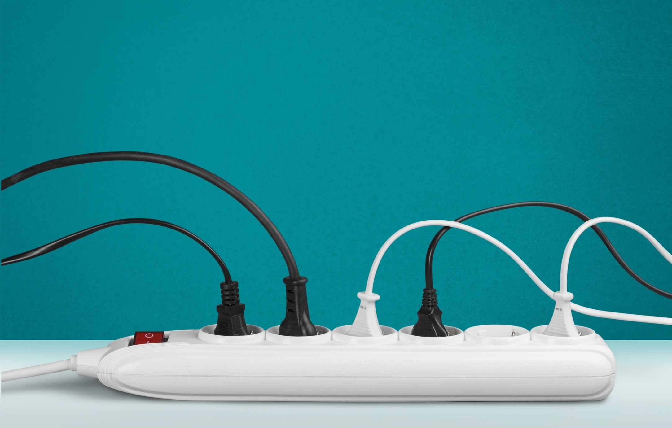 Power strip with plugged in cords