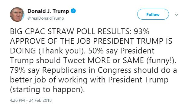 Trump tweets about being president.