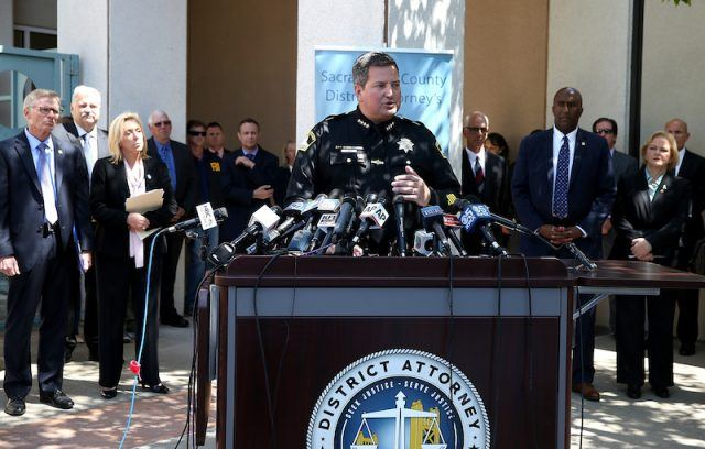 Sacramento sheriff Scott Jones speaks about the arrest of accused rapist and killer Joseph James DeAngelo during a news conference.