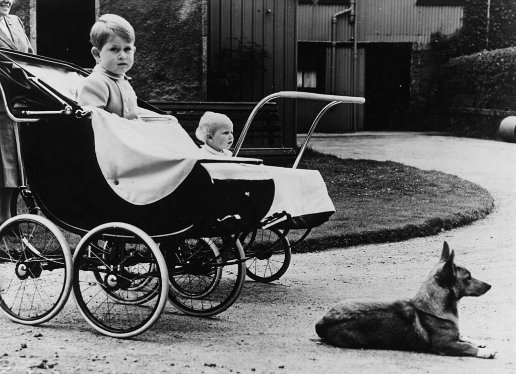 Prince Charles And Princess Anne with Queen's Corgi