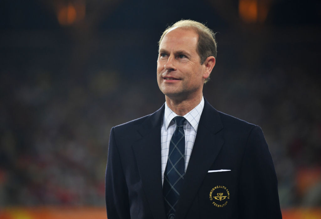 Prince Edward, Earl of Wessex looks on during the medal ceremony for the Women's 400 metres