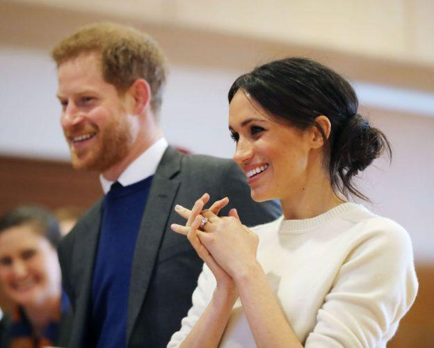 Prince Harry and Meghan Markle during a visit to Catalyst Inc science park in Belfast.