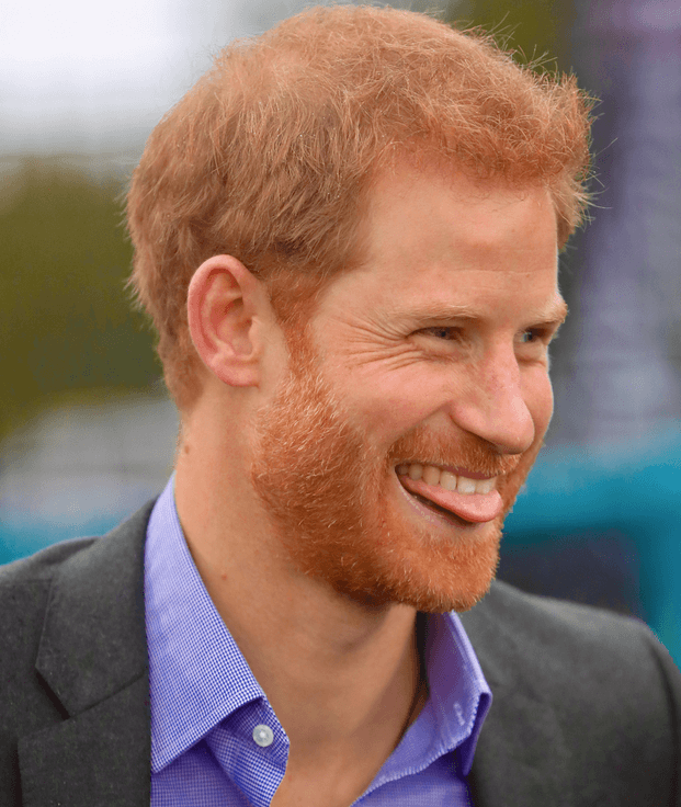 Prince Harry sticking out tongue