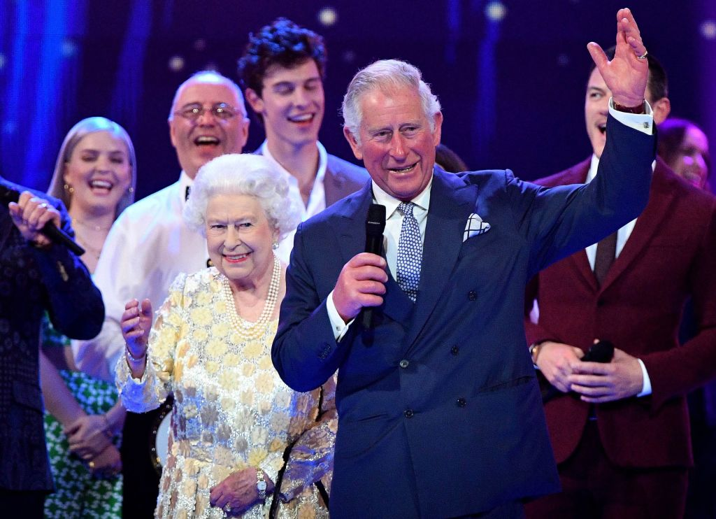 Prince Charles giving the toast at Queen Elizabeth birthday party