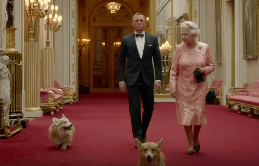 Queen Elizabeth, James Bond, and her corgis