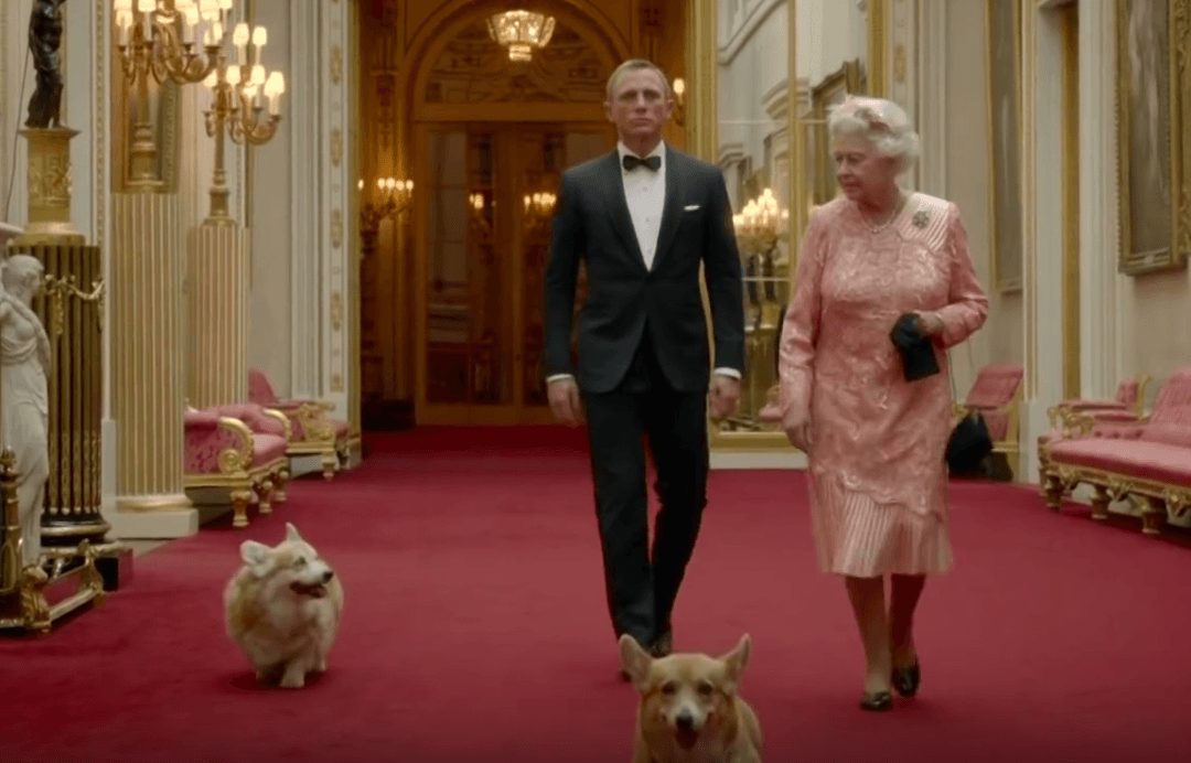 Queen Elizabeth, James Bond, and her corgis