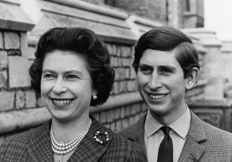 Prince Charles and Queen Elizabeth II in their younger years.