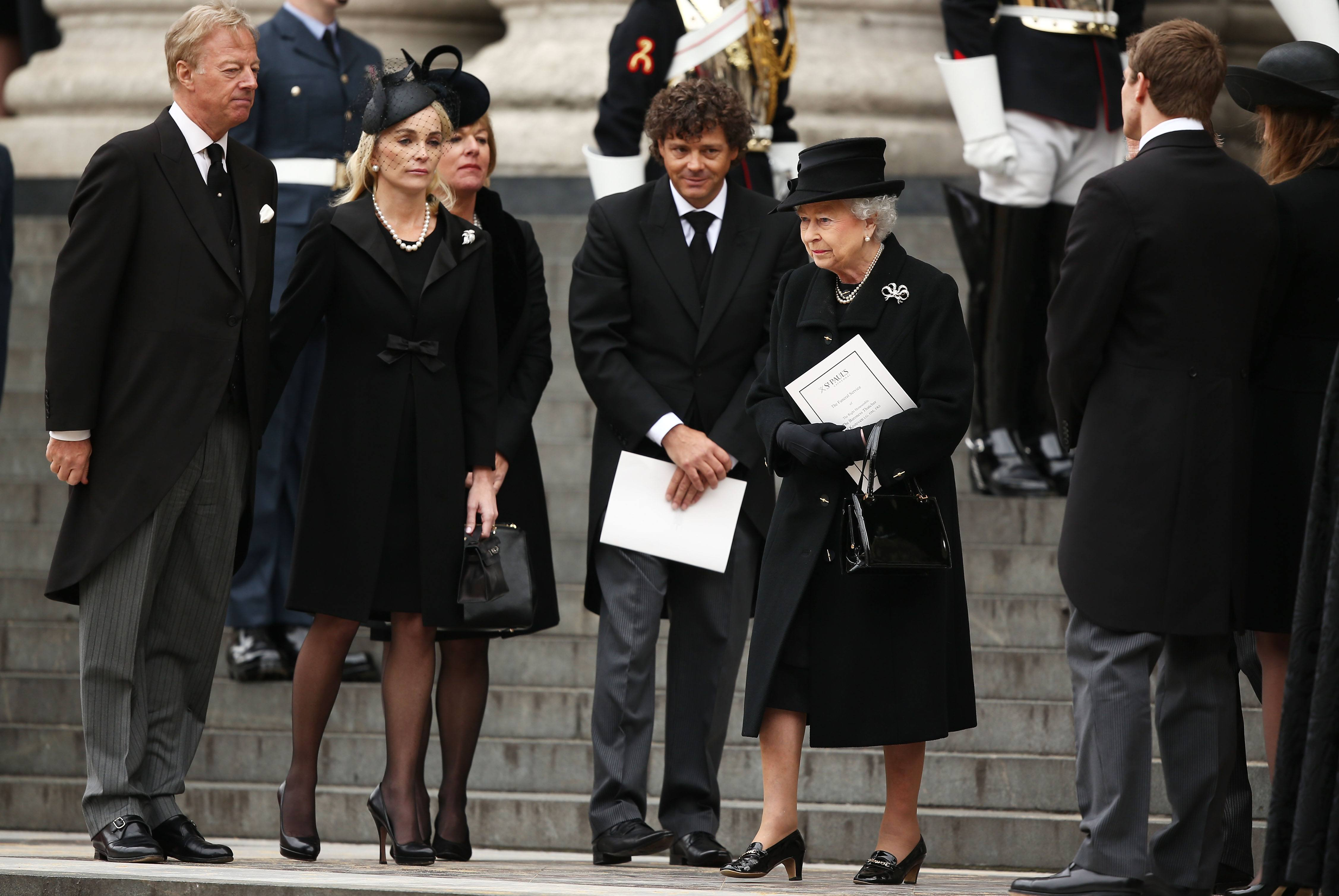 Queen Elizabeth at The Ceremonial Funeral Of Former British Prime Minister Baroness Thatcher