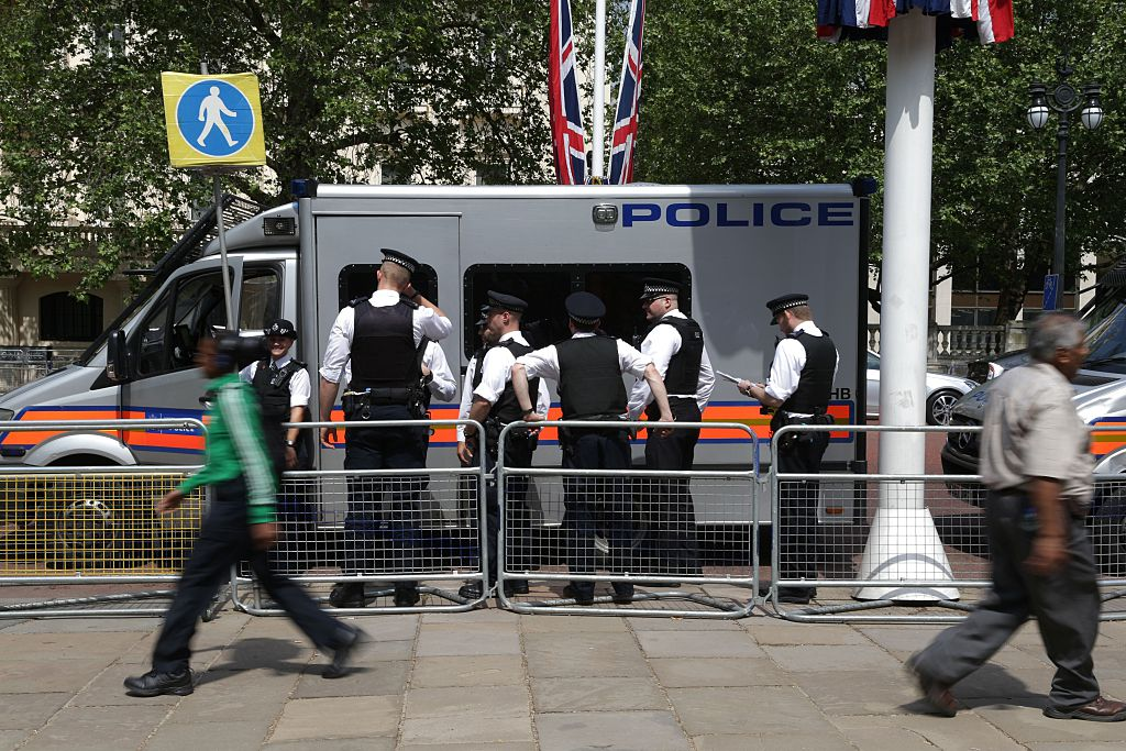 Police officers on the streets in central London on June 8, 2016, as Britain prepares to celebrate the 90th birthday of Queen Elizabeth II.