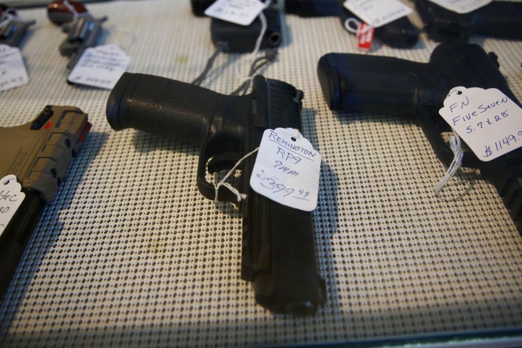 A Remington RP9 9mm pistol sits for sale at Idol's Gun Rack gun shop