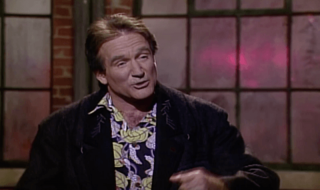 Robin Williams during his monologue performance on 'Saturday Night Live'.