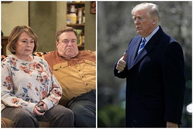 A collage featuring 'Roseanne' and Donald Trump.