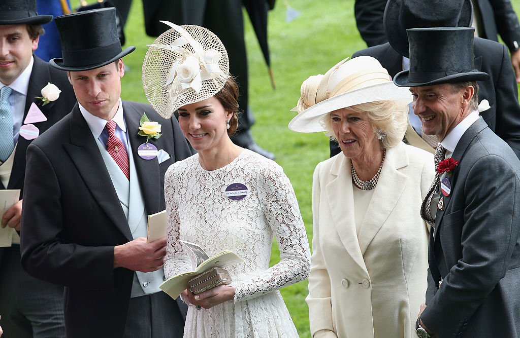 Prince William, Duke of Cambridge, Catherine, Duchess of Cambridge along with Camilla, Duchess of Cornwall attend the second day of Royal Ascot