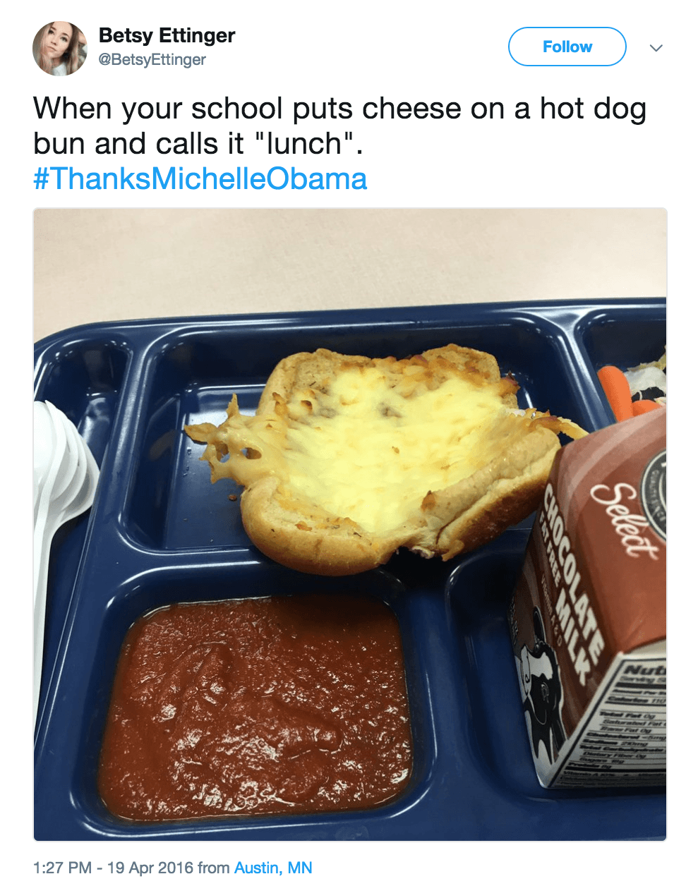 School lunch hotdog bun cheese
