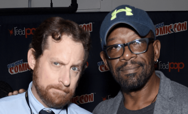 Scott Gimple and Lennie James posing together at Comic Con.