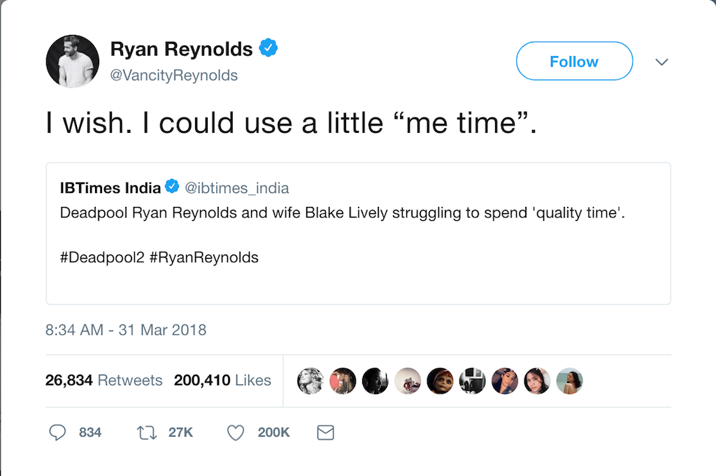 Ryan Reynolds' Snarky Tweet Says Everything We Need to ...