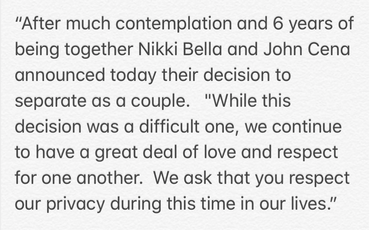 A screenshot of Nikki Bella and John Cena's announcement