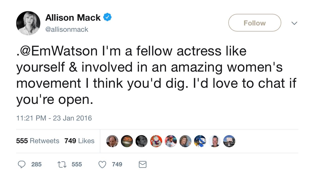 A screenshot of Allison Mack twitter