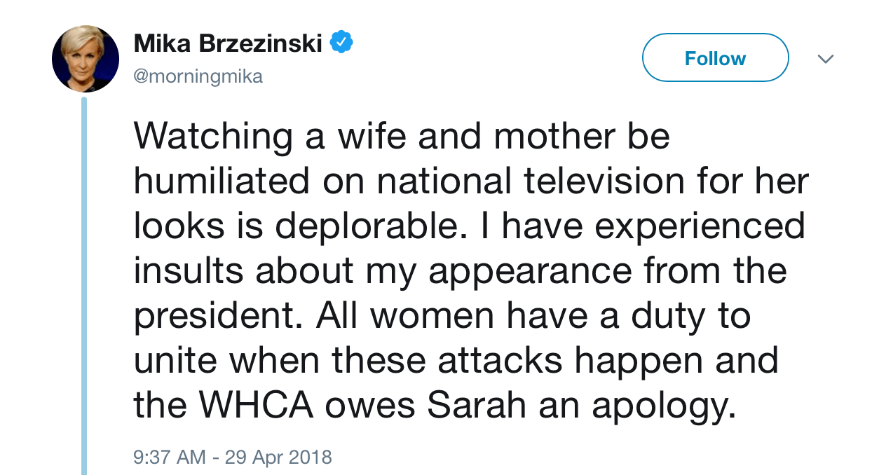 A twitter screenshot from Mika Brzezinsk
