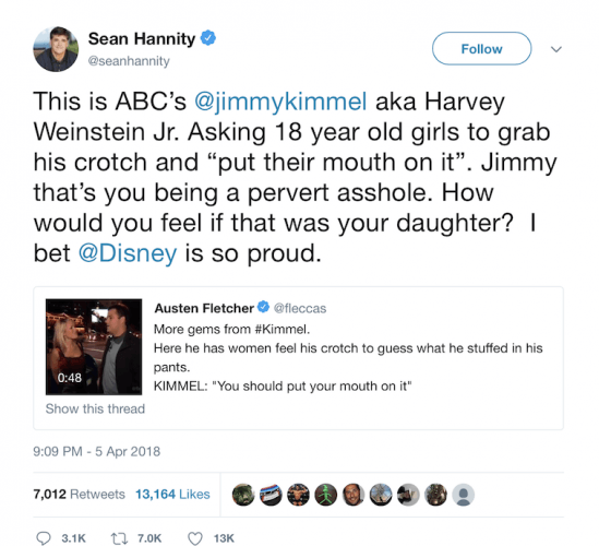 Sean Hannity's twitter response.