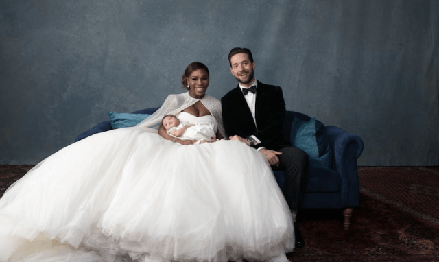Serena Williams and Alexis Ohanian hold their baby during their wedding photos.