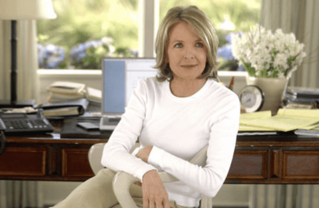 Diane Keaton sits in a chair in 'Something's Gotta Give'.