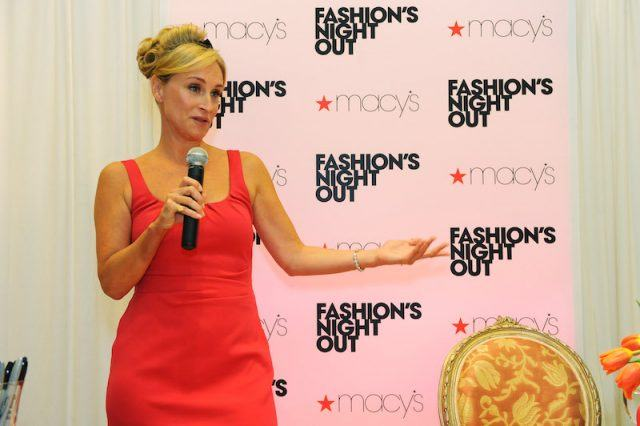 Morgan speaking at an NYC fashion event.
