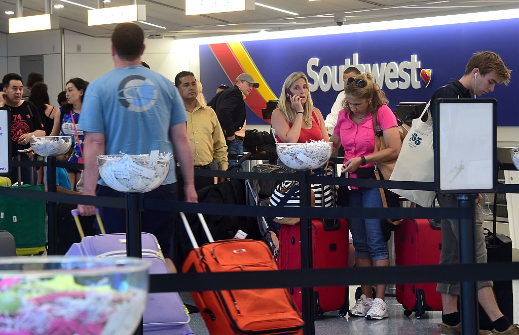 Southwest airlines counter line at LAX airport