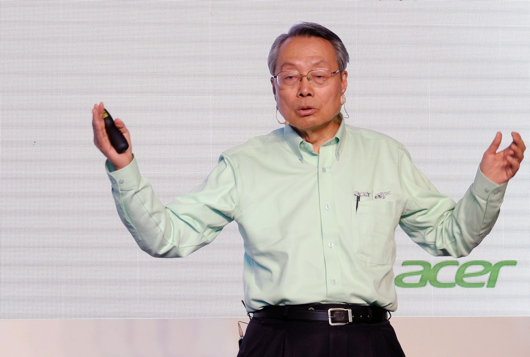 Stan Shih, founder of Taiwan's Acer Inc., speaks during a press conference