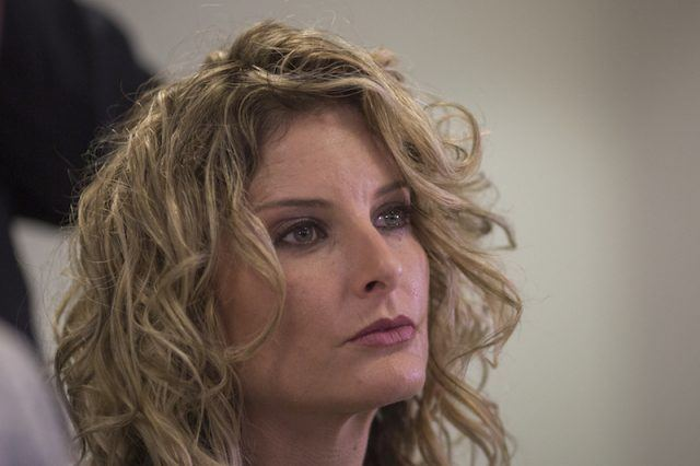 Summer Zervos looking straight ahead while looking very serious.