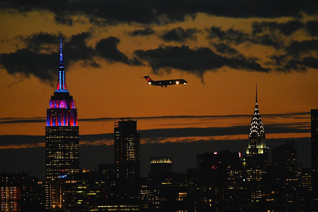 The Empire State Building is lit in colors of the FC Barcelona football club