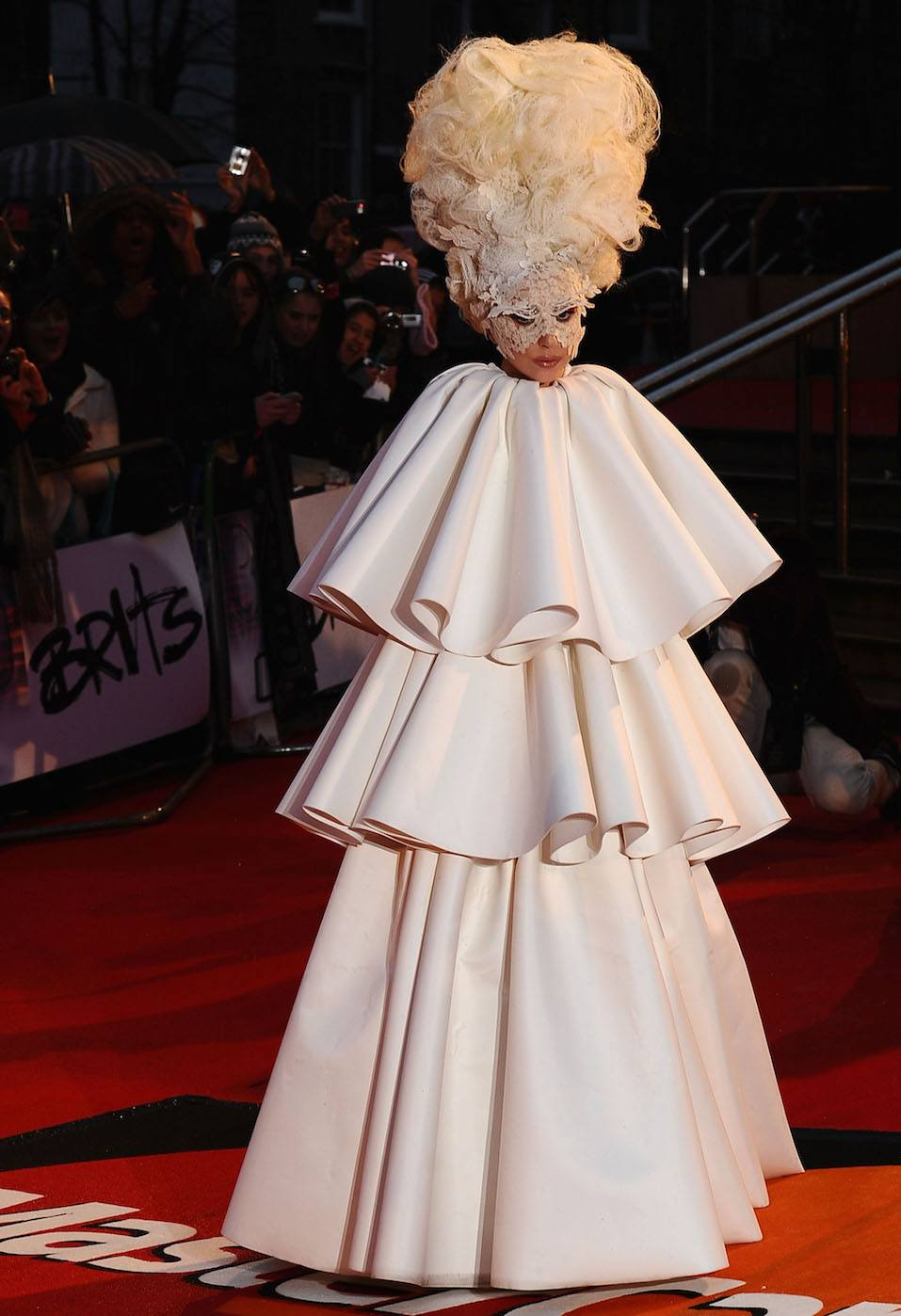 Lady Gaga arrives on the red carpet for The Brit Awards 2010 at Earls Court