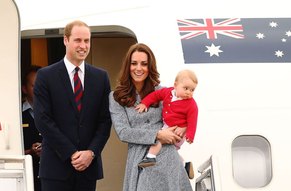 The Duke And Duchess Of Cambridge leave Fairbairne Airbase as they head back to the UK after finishing their Royal Visit to Australia