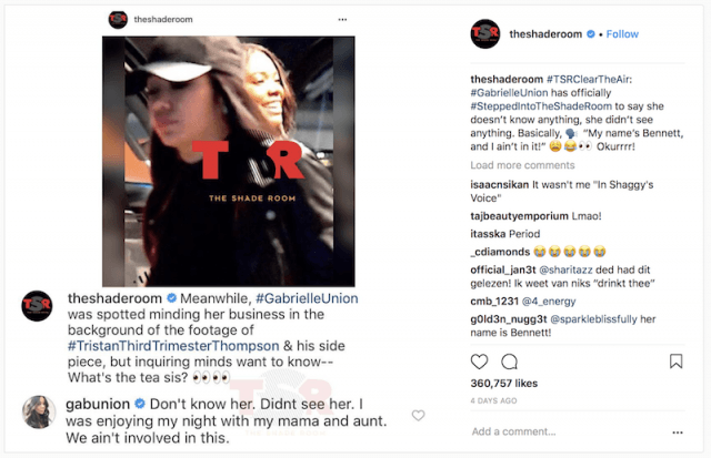 The Shade Room Instagram.