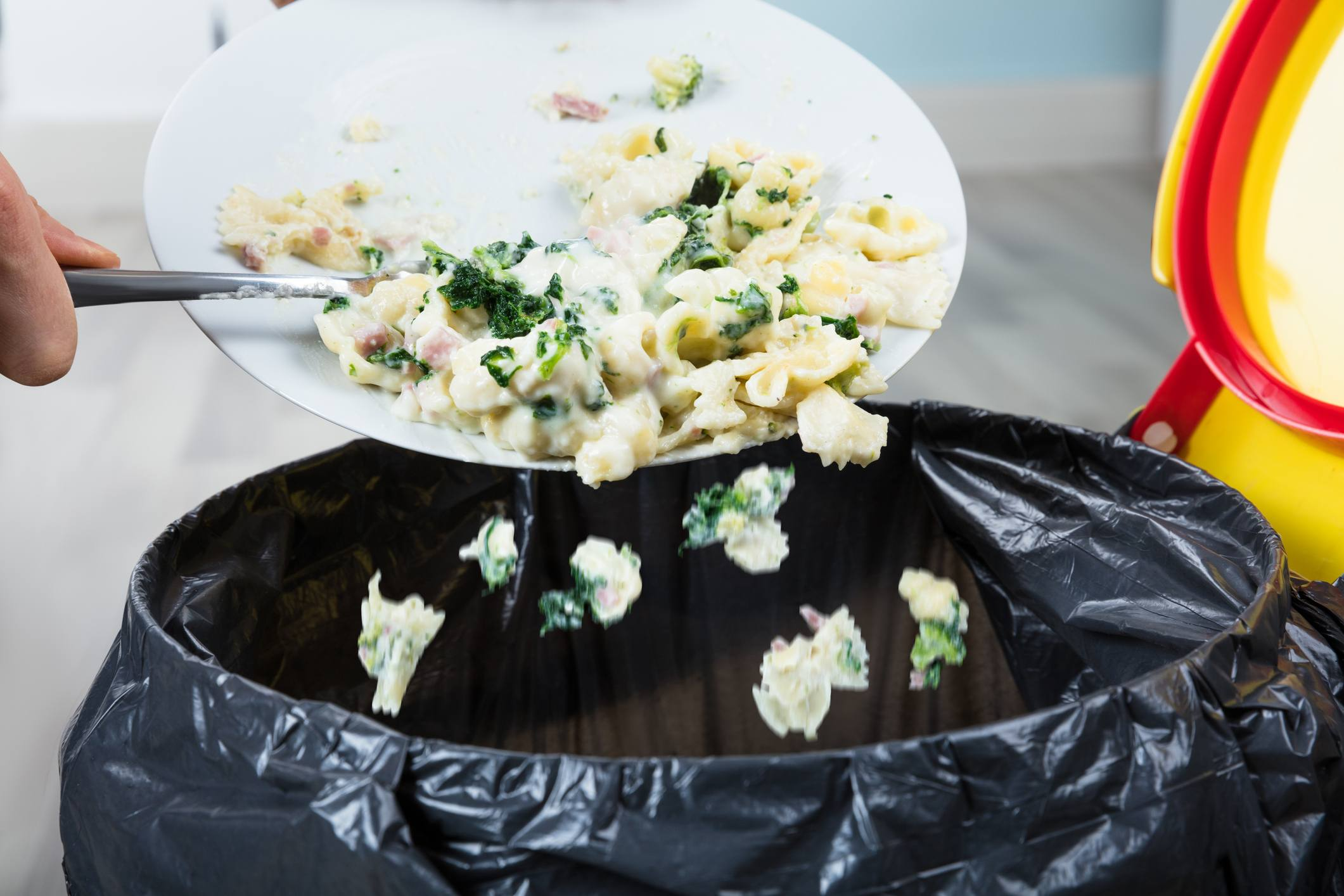 Person Throwing Cooked Pasta In Trash Bin