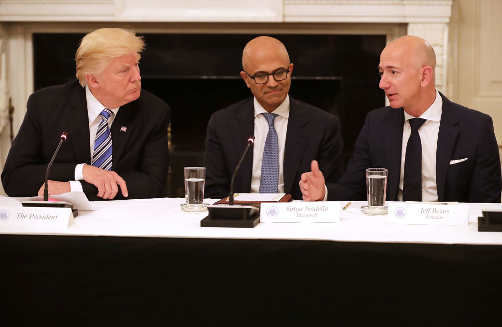 Donald Trump, Stya Nadella and Jeff Bezos