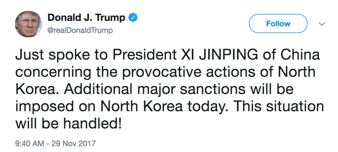 Trump tweet china north korea sanctions