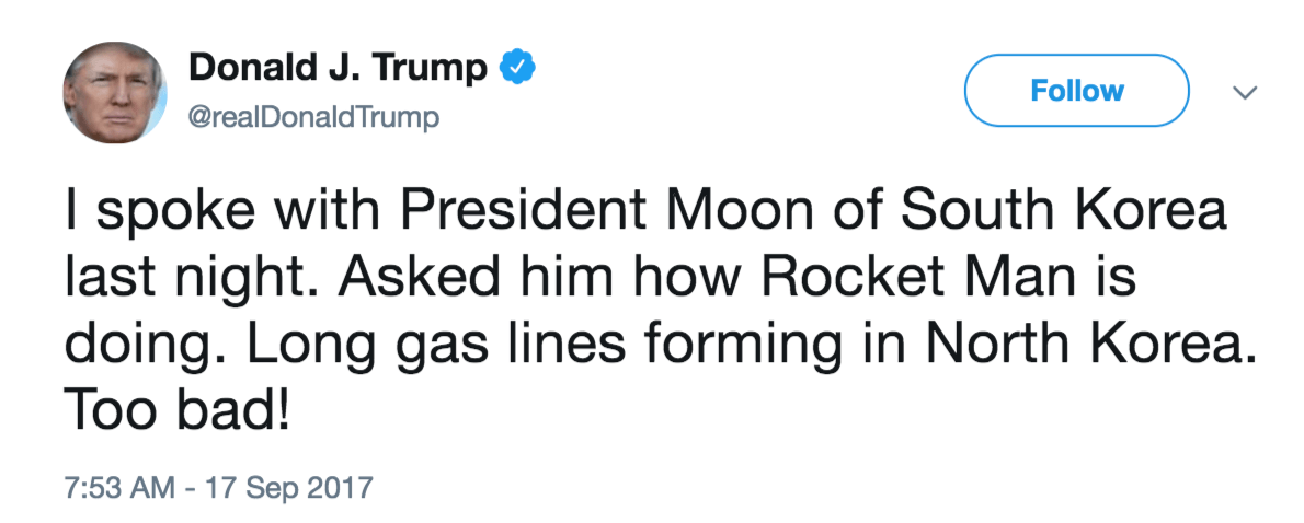 Trump tweet south korea rocket man
