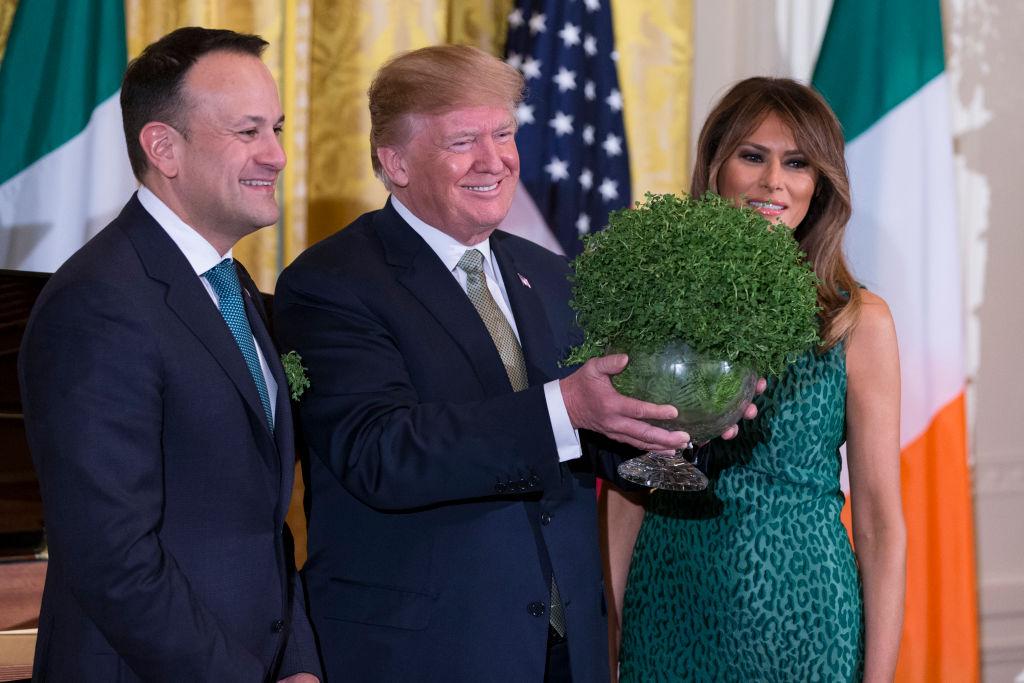 Donald Trump with the Irish Prime Minister holding shamrocks