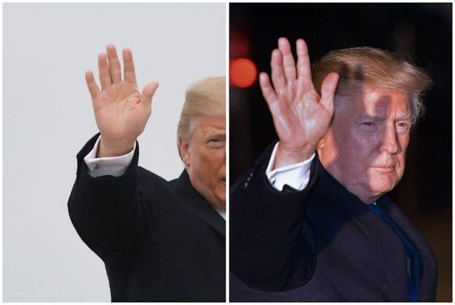 Donald Trump's hands collage.