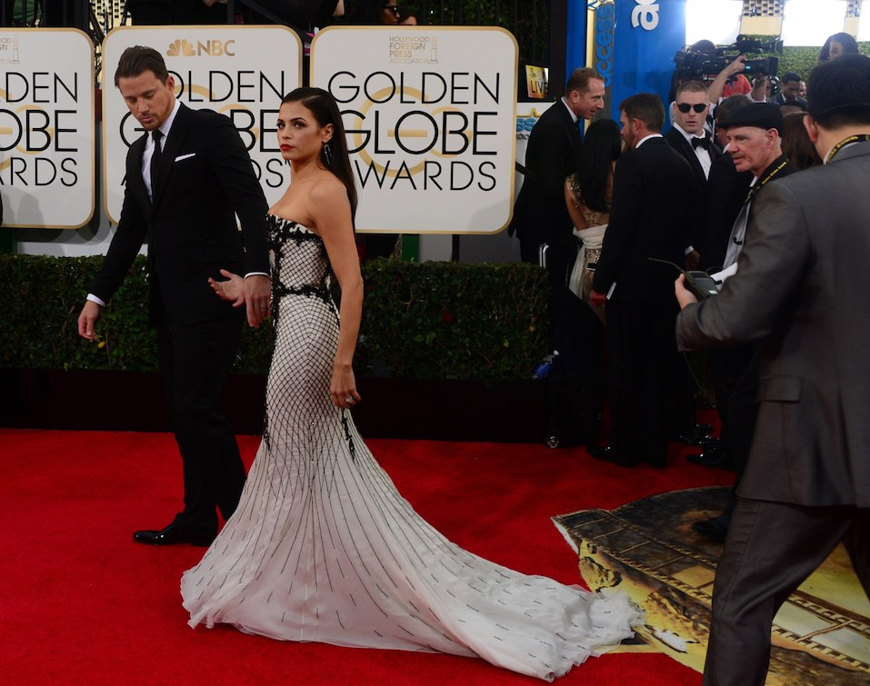Actors Channing Tatum and Jenna Dewan arrive on the red carpet for the Golden Globe awards