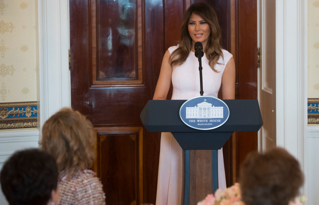 US First Lady Melania Trump speaks as she hosts a luncheon for the spouses of US governors