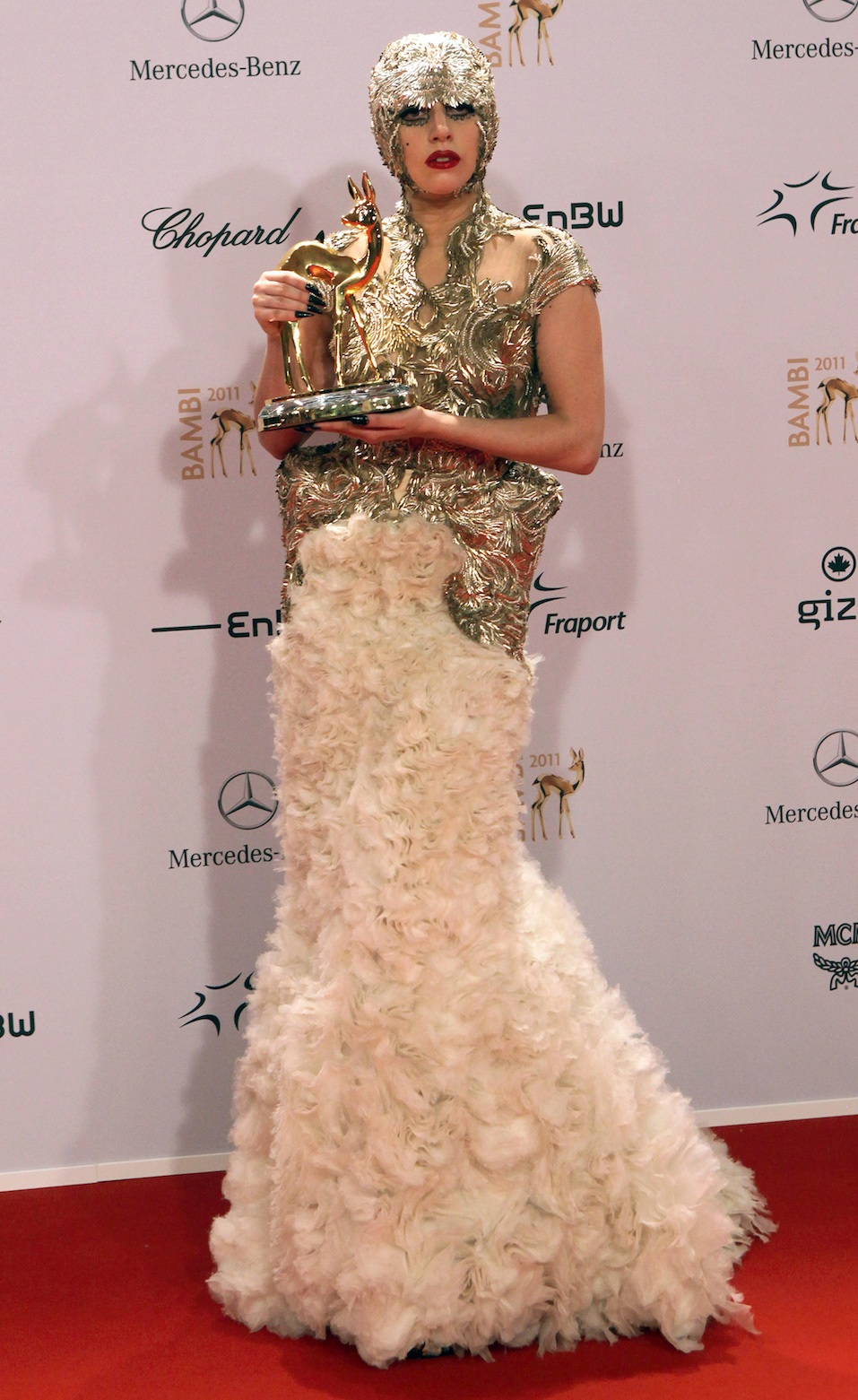 US singer Lady Gaga poses with her International Pop award