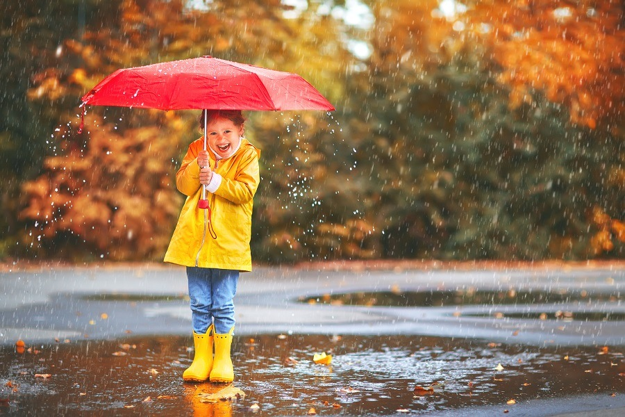 happy child with an umbrella in the fall