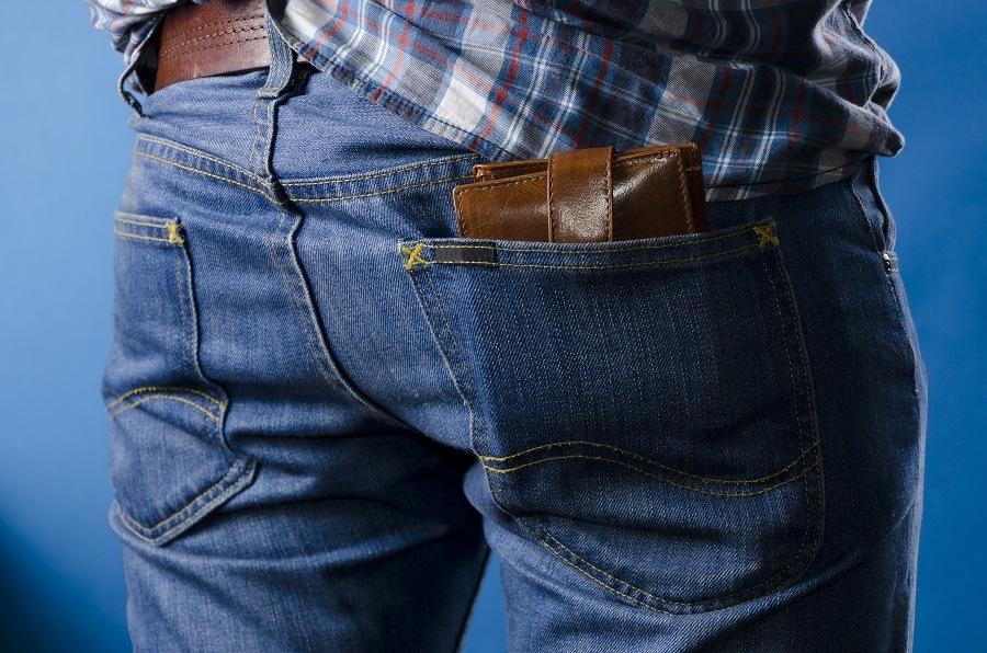 wallet in his pants pocket