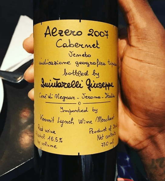 Wine bottle with note