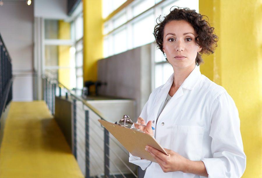 Woman in lab coat